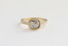 Hand Milgrained Cushion Rose Cut Translucent Gray Diamond Ring in 18K Yellow Gold