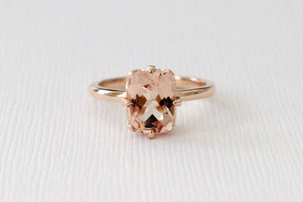 Cushion Cut Morganite Solitaire Compass Prong Set Diamond Ring in 14K Rose Gold