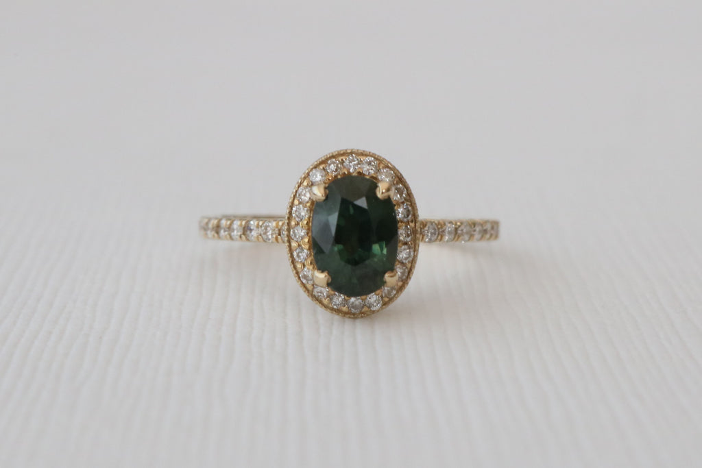 Oval Blue Green Sapphire Milgrain Ring in 14K Yellow Gold