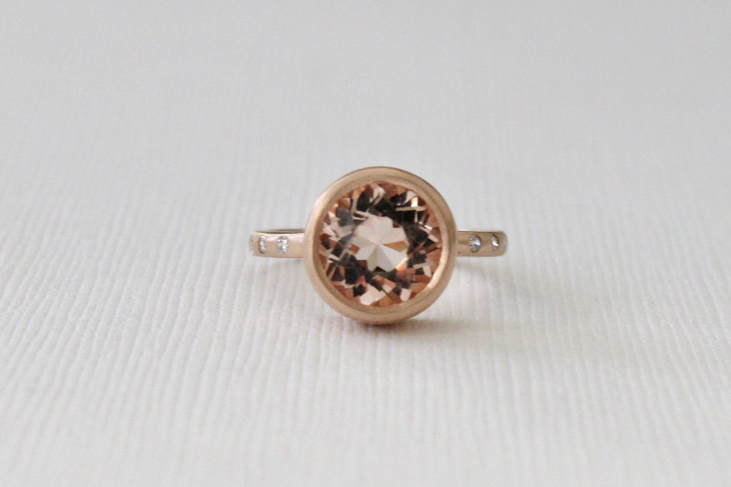 2.41 Cts. Morganite Bezel Diamond Ring in 14K Rose Gold