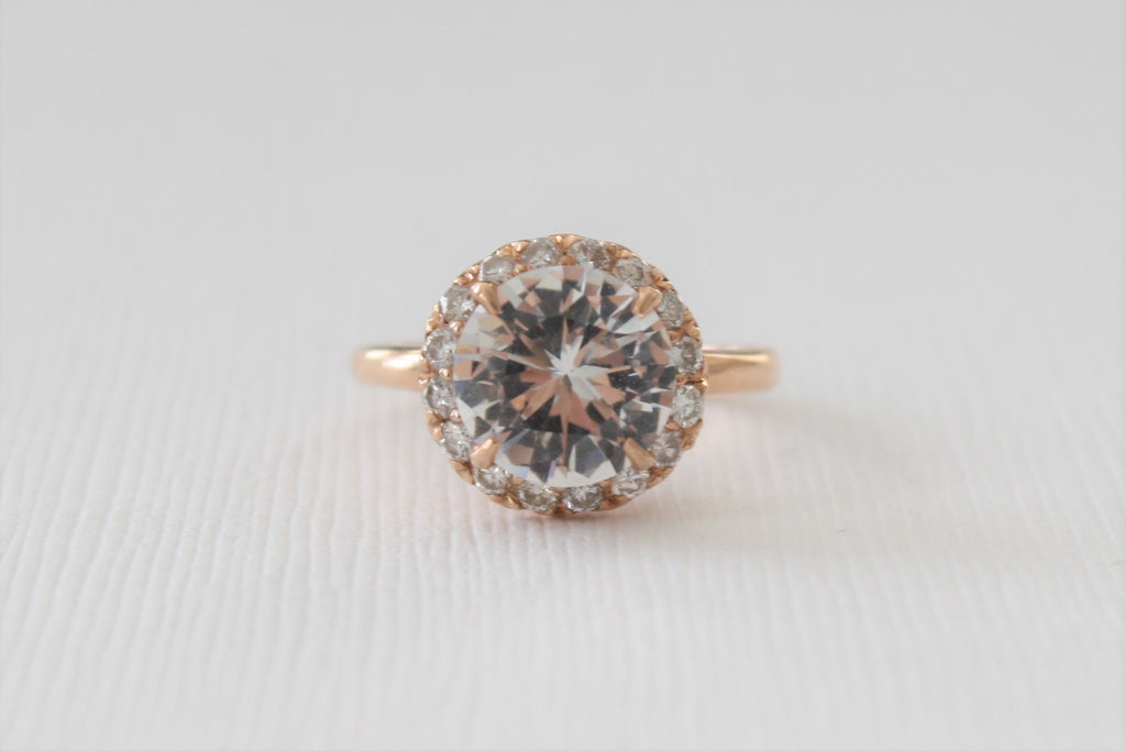 White Sapphire and Diamond Cocktail/Anniversary Ring in 14K Rose Gold