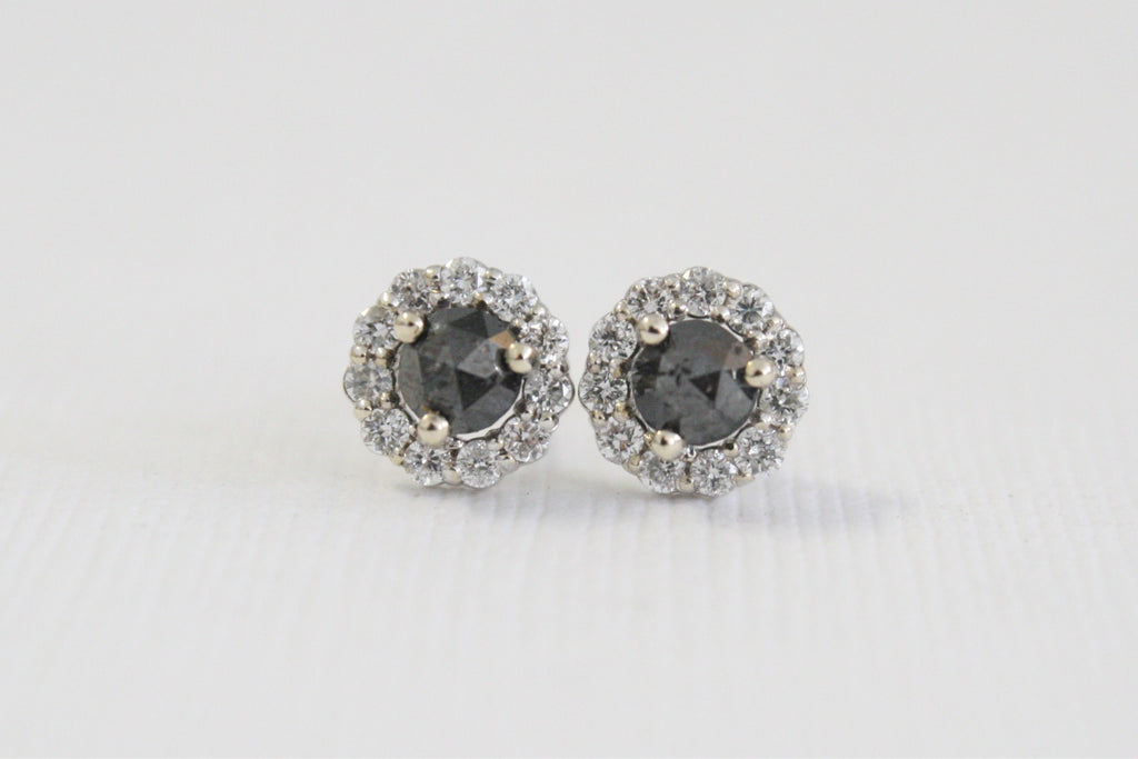 Rose Cut Black Diamond Halo Earrings in 14K White Gold