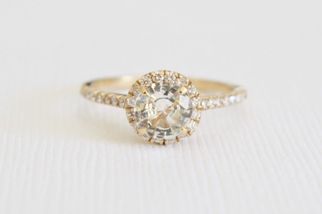 GIA Certified Fancy Light Yellow Sapphire Diamond Halo Ring in 14K Yellow Gold