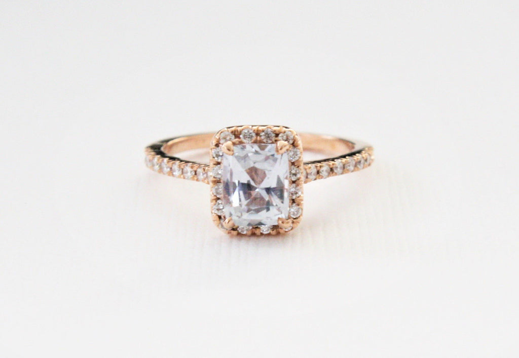 Cushion Cut Lavender Sapphire Diamond Halo Ring in 14K Rose Gold