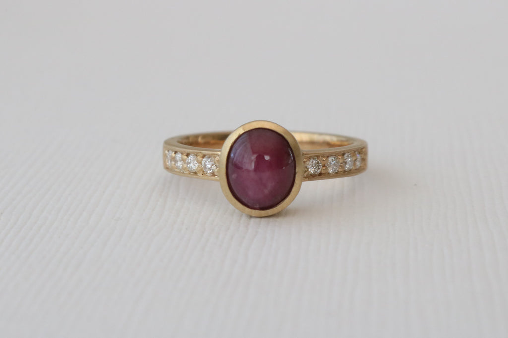 2.83 Cts. Oval Cabochon Ruby and Diamond Ring in 14K Yellow Gold
