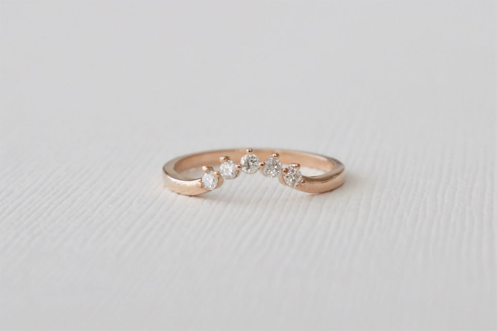 Tiara  Style Curved Diamond Ring in 14K Rose Gold