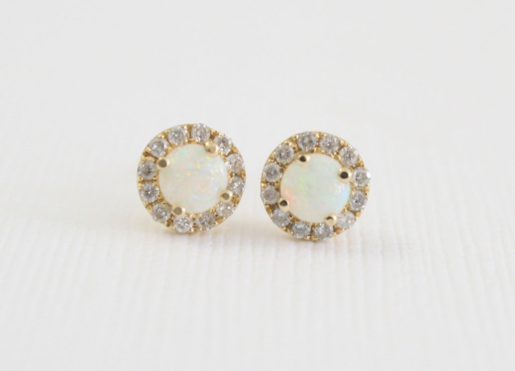 Round Opal Diamond Halo Earrings in 14K Yellow Gold