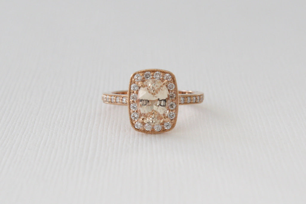 GIA Certified Cushion Peach Sapphire Diamond Halo Milgrained Engagement Ring in 14K Rose Gold