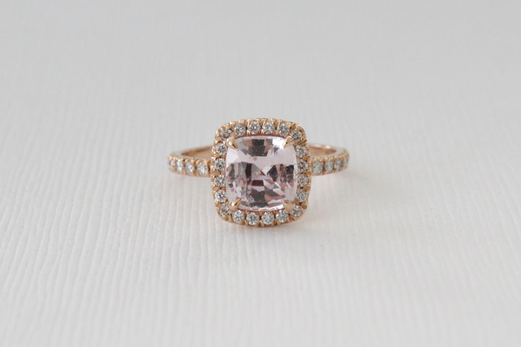 GIA Certified 2.23 Cts. Cushion Peach Sapphire Diamond Halo Engagement Ring in 14K Rose Gold