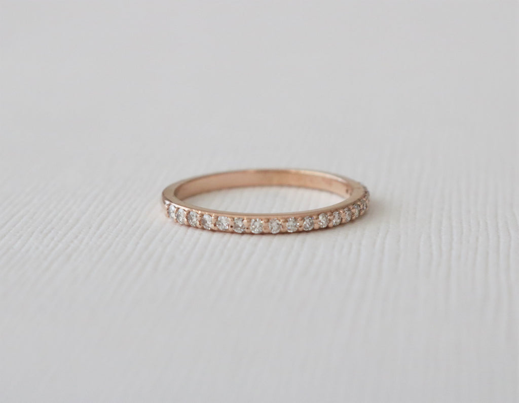 Half Eternity Diamond Band in 14K Rose Gold