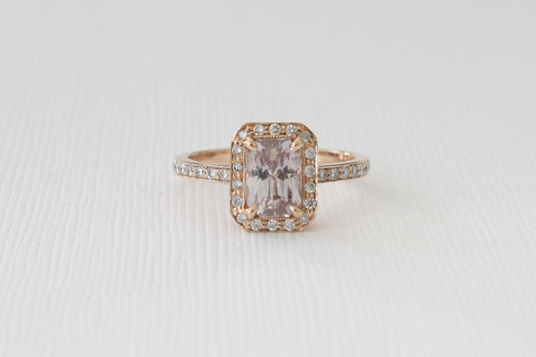 GIA Certified 2.07 Cts Radiant Cut Light Peach/Pink Sapphire Diamond Halo Ring in 14K Rose Gold