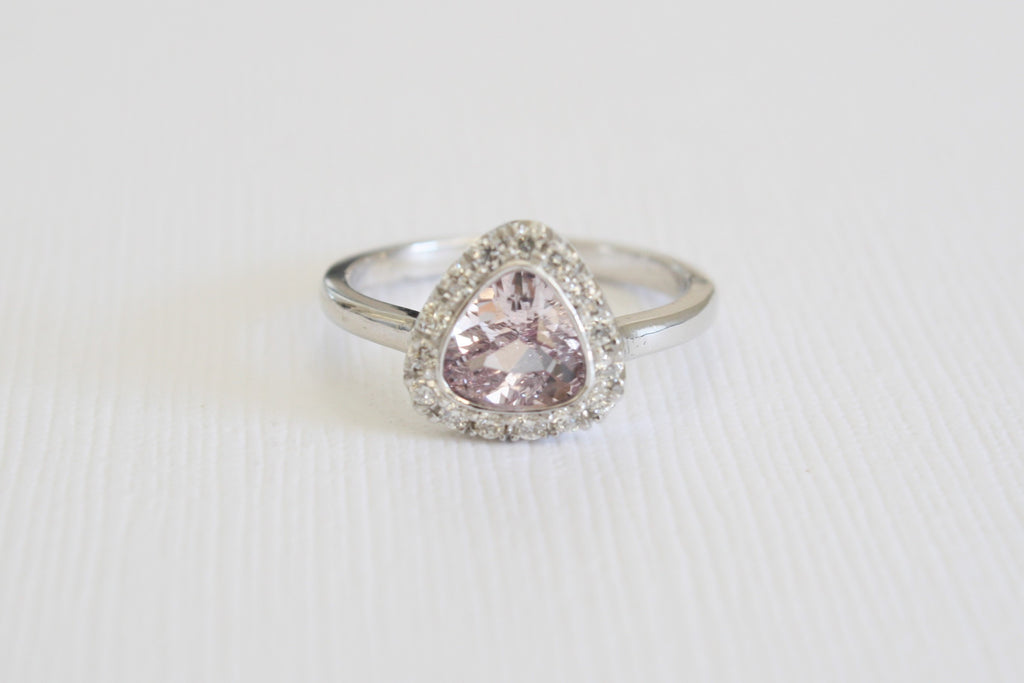 Trillion Cut Lavender Peach Sapphire Diamond Halo Ring in 14K White Gold