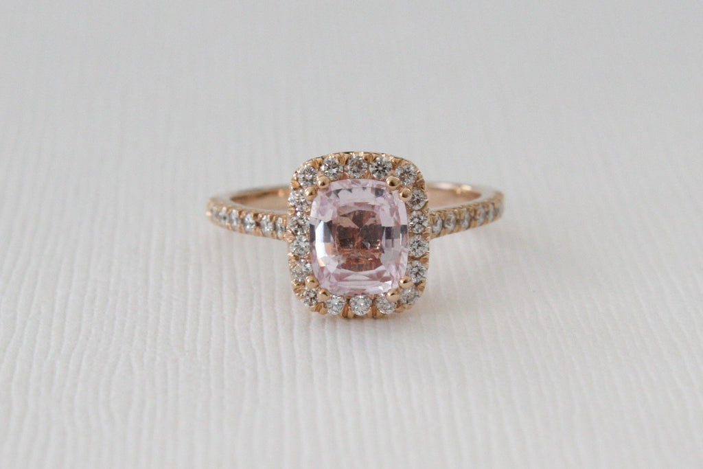 Cushion Peach Pink Sapphire Diamond Halo Ring in 14K Rose Gold