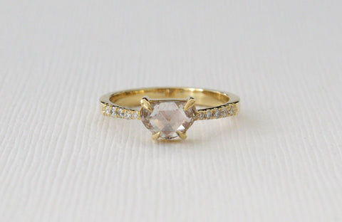 Heart Shaped Champagne Rose Cut Diamond Ring in 18K Yellow Gold