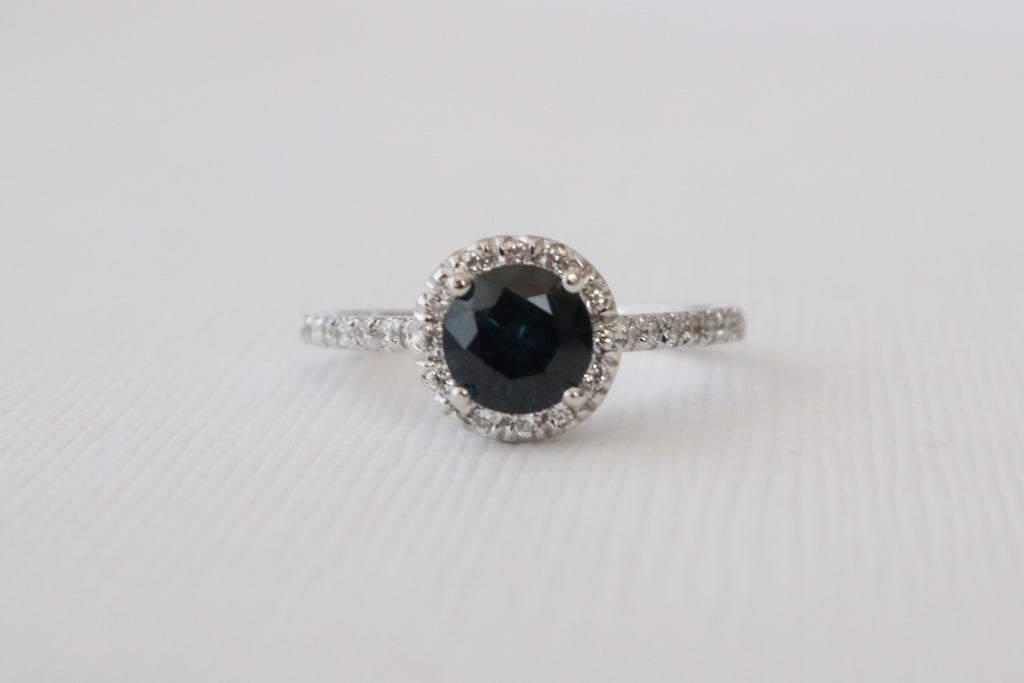 Round Brilliant Cut Sapphire Diamond Halo Engagement Ring in 14K White Gold