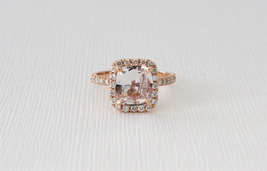 GIA Certified 2.18 Cts Cushion Cut Blush Pink/Peach Sapphire Diamond Halo Ring in 14K Rose Gold