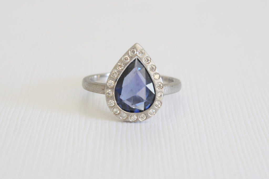 Pear Rose Cut Ceylon Sapphire Diamond Halo Ring in 14K White Gold
