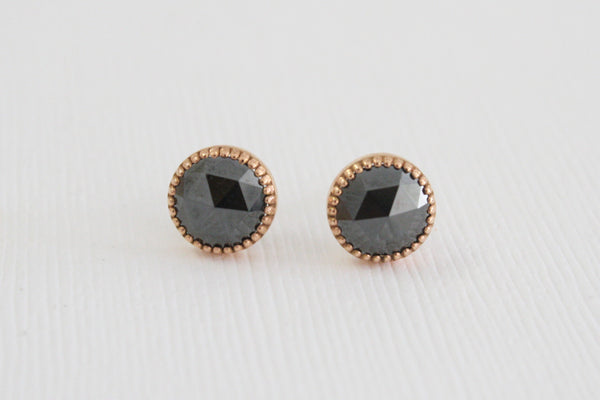2.40 Cts. Rose Cut Black Diamond Stud Earrings in 14K Milgrain Rose Gold