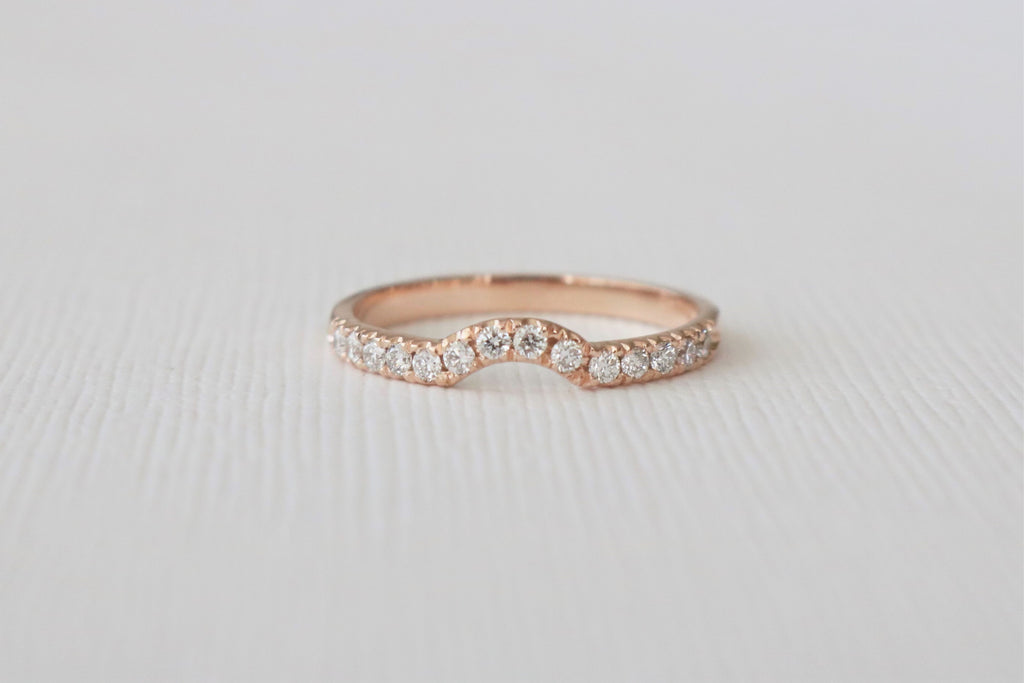 Handmade Curved Diamond Band in 14K Rose  Gold
