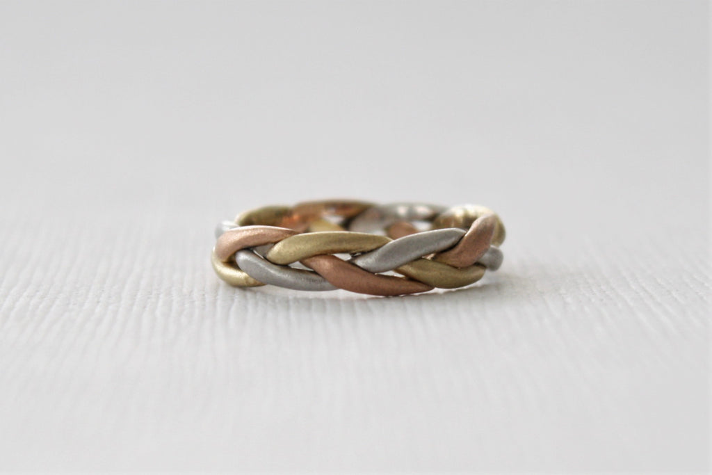 Handmade Braided Ladies' Wedding Band in 14K Solid Gold