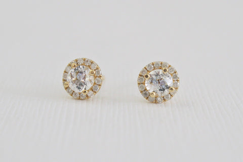 White Sapphire Diamond Halo Stud Earrings in 14K Yellow Gold