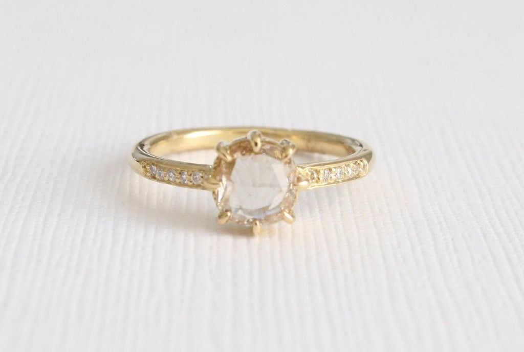 Rose Cut Champagne Diamond Solitaire Ring in 18K Yellow Gold