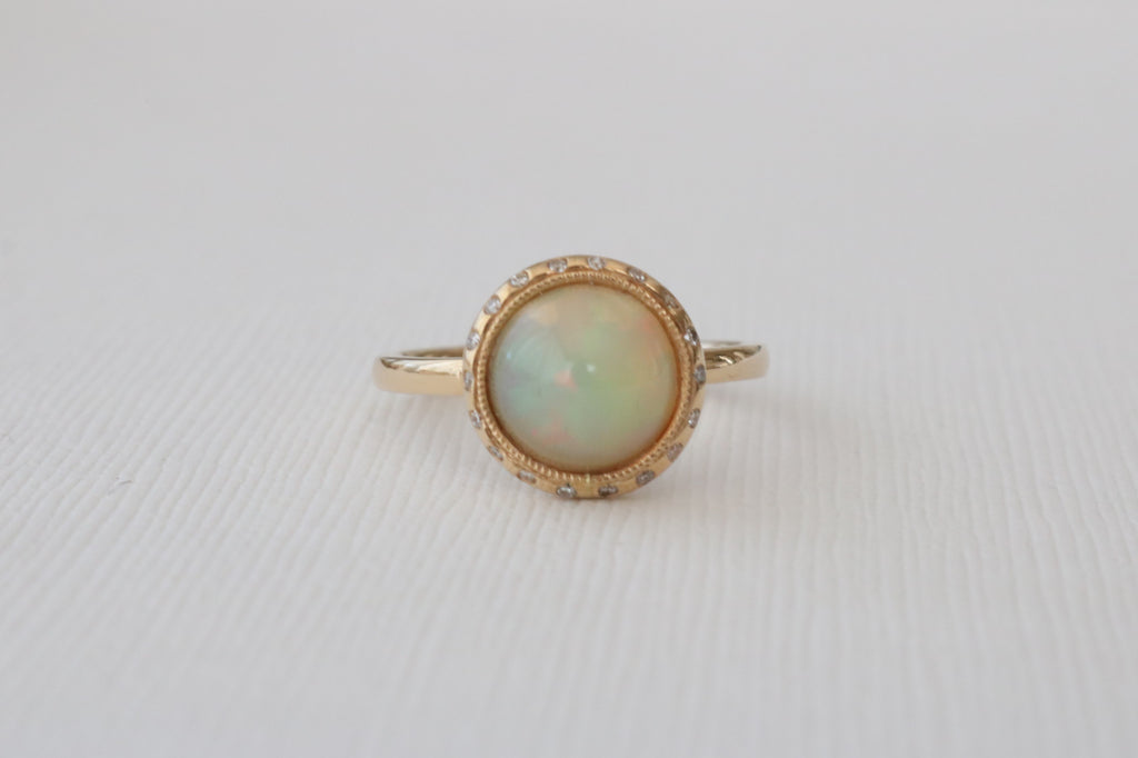 Opal Diamond Bezel Ring in 14K Yellow Gold