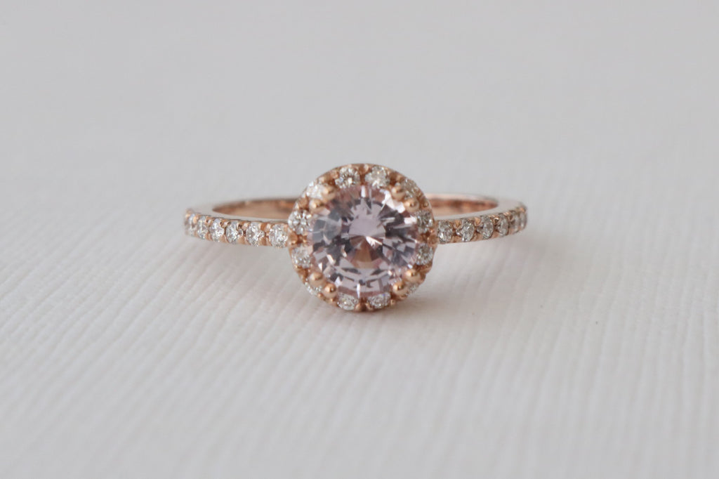 Peach Pink Sapphire Diamond Halo Engagement Ring in 14K Rose Gold