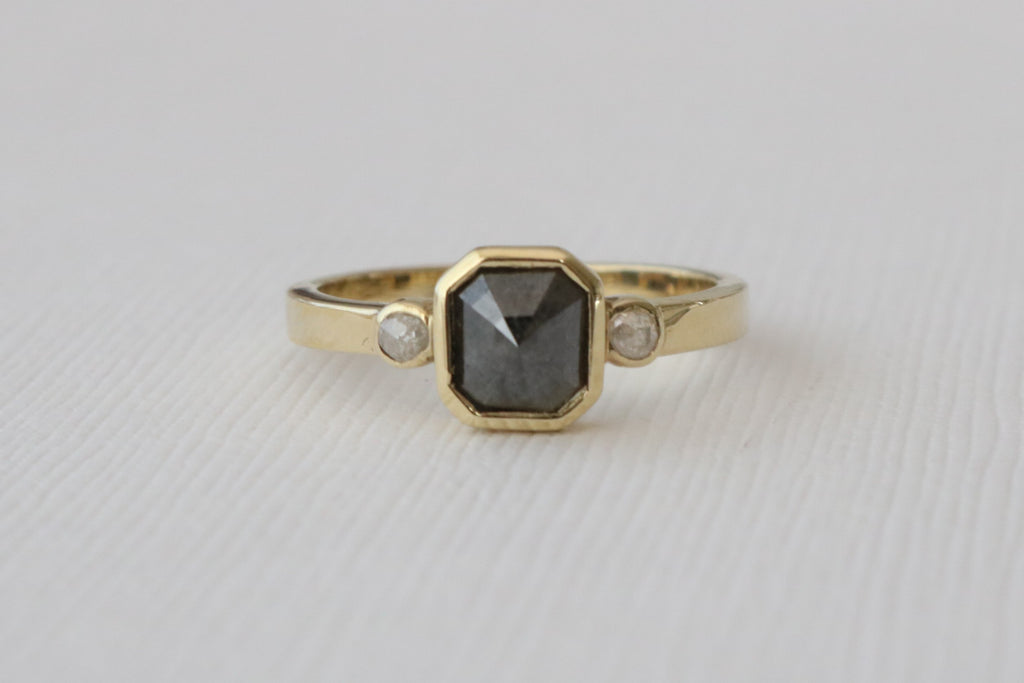 3 Stone Radiant Rose Cut Black Diamond Bezel Ring in 14K Yellow Gold