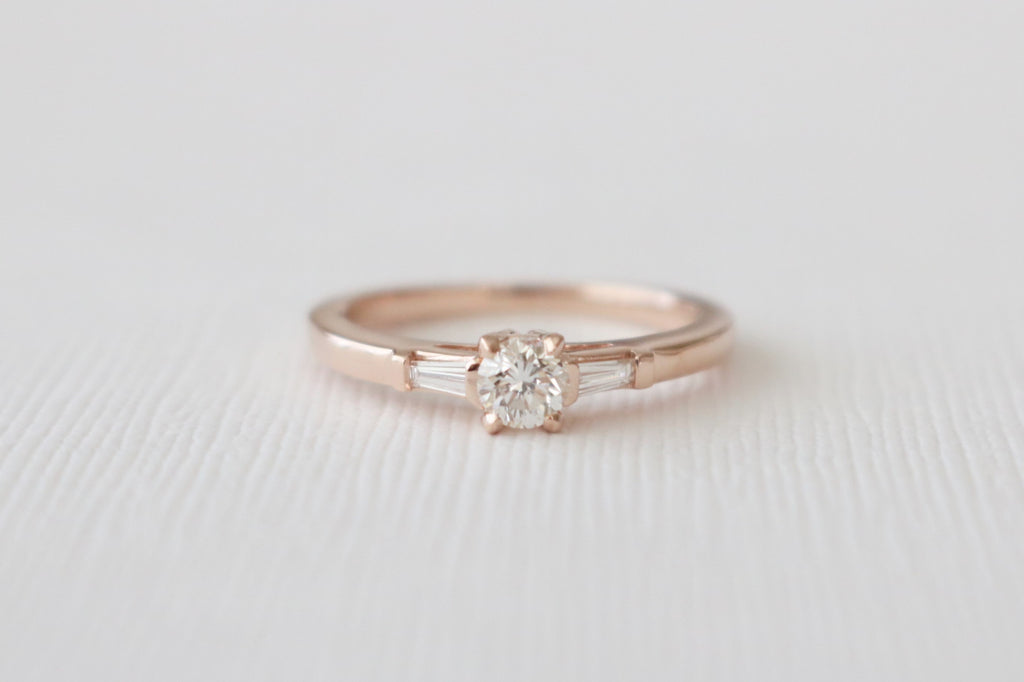 3 Stone Round And Baguette Diamond Ring in 14K Rose Gold