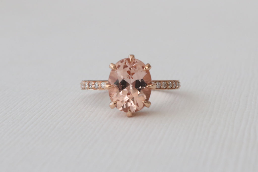2.68 Cts.Oval Morganite Diamond Solitaire Engagement Ring in 14K Rose Gold