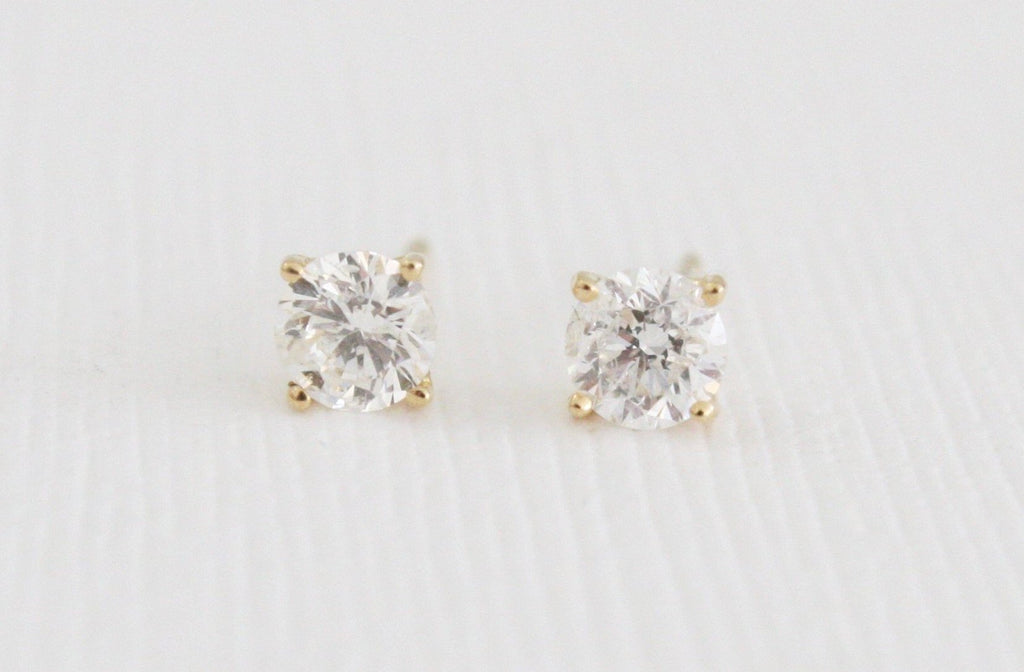 Natural Diamond Stud Earrings 0.64 Ct. in 14K Yellow Gold