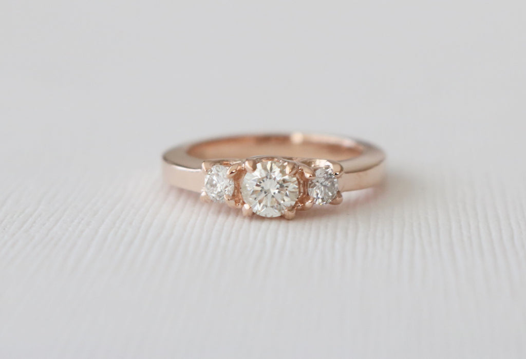 3 Stone Round Diamond Ring in 14K Rose Gold