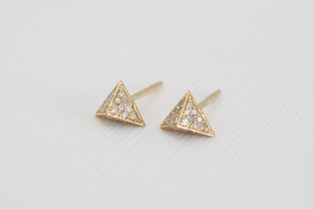 Champagne Diamond Pyramid Earrings in 14K Yellow Gold