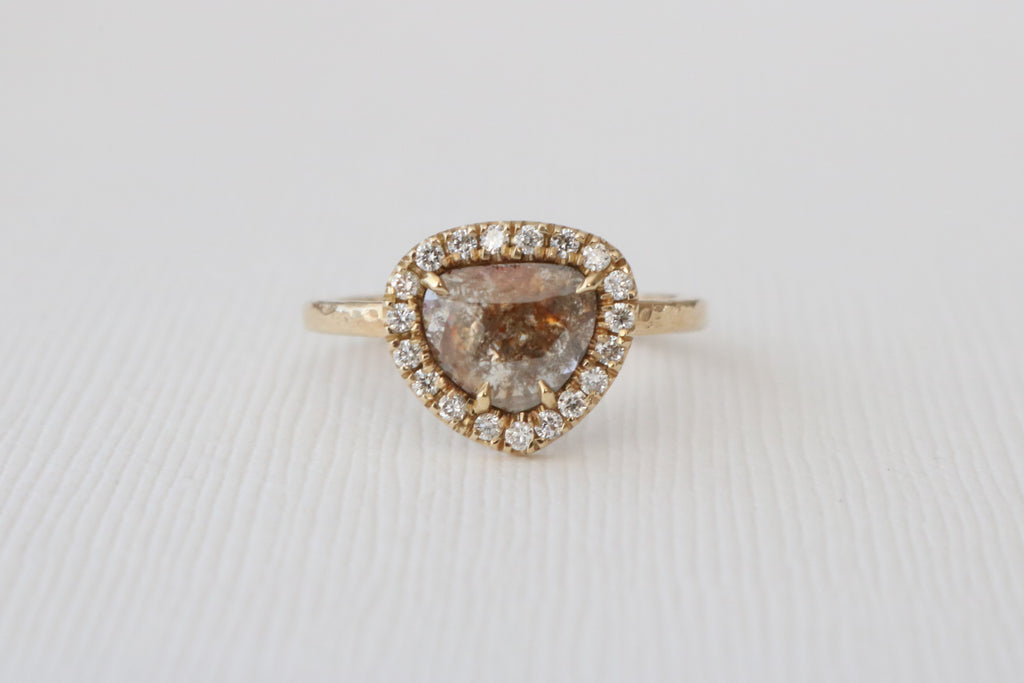 Heart/Pear Rose Cut Cognac Brown Diamond Halo Ring in 14K Yellow Gold