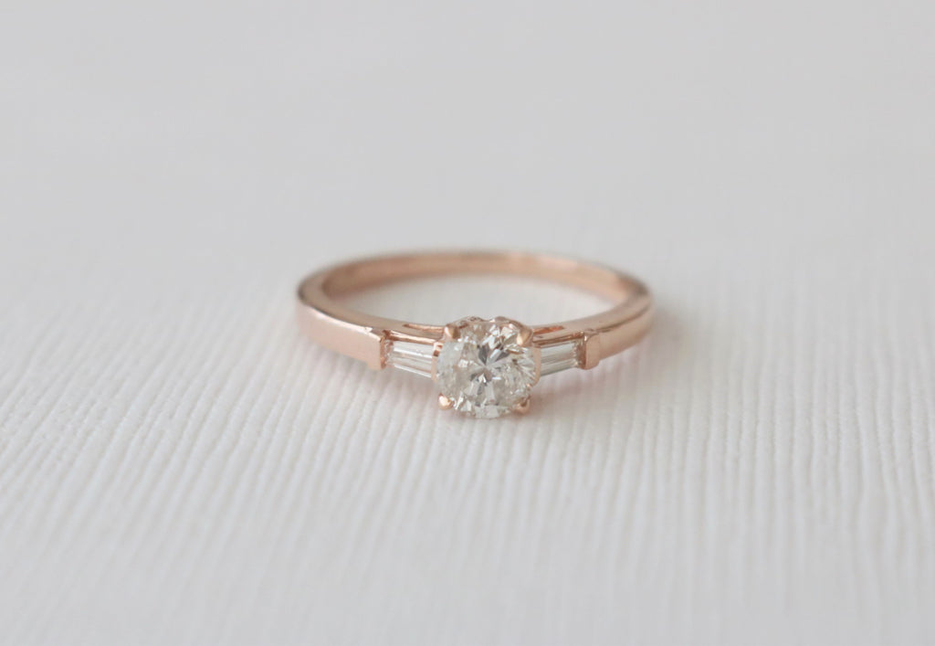 3 Stone Round Brilliant and Baguette Cut Diamond Ring in 14K Rose Gold