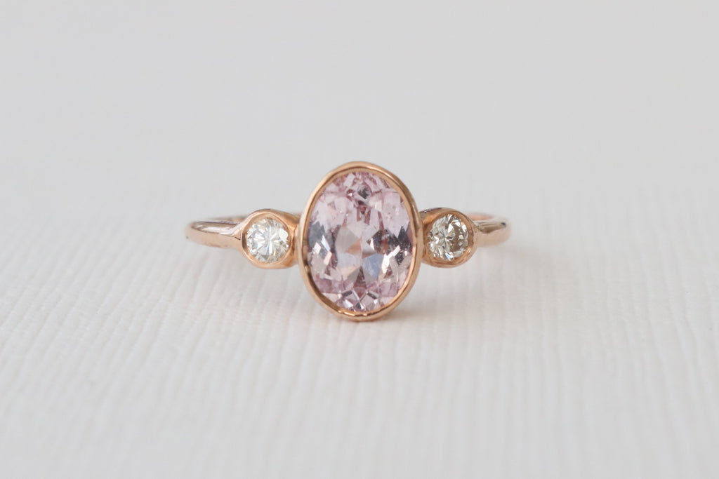 3 Stone Oval Lavender Pink Sapphire and Diamond Bezel Ring in 14K Rose Gold