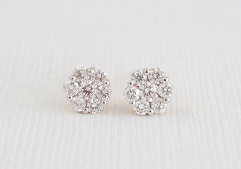 Diamond Flower Cluster Stud Earrings in 18K Rose Gold