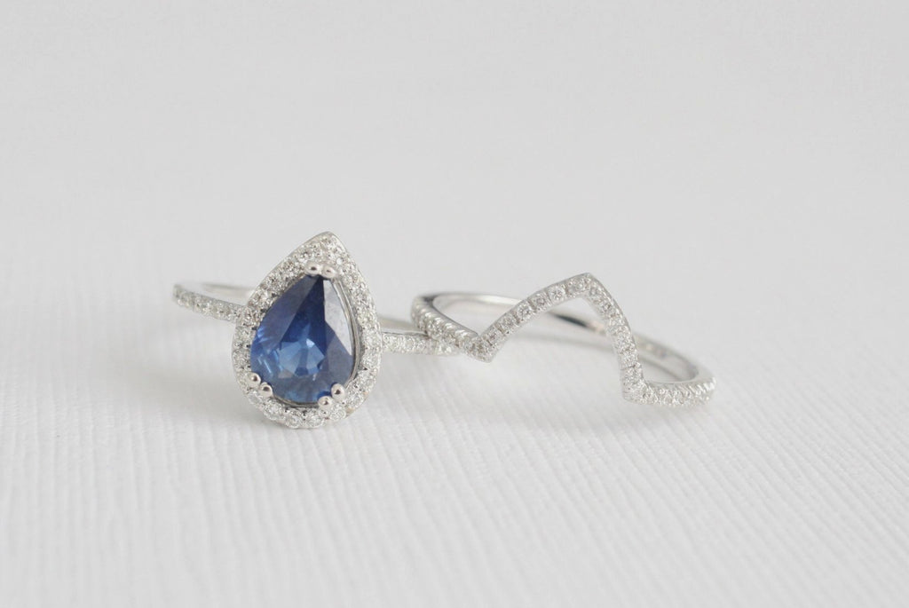 SET - Pear Cut Sapphire Halo Diamond Engagement Ring in 14K White Gold