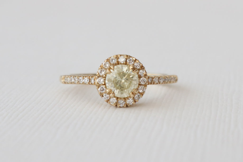 Light Yellow Diamond Halo Engagement Ring in 14K Yellow Gold