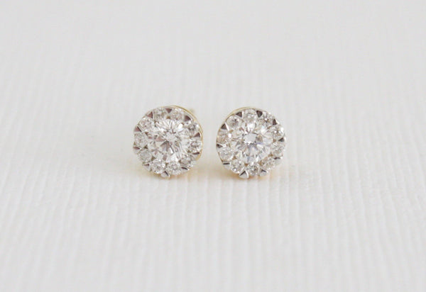 Diamond Flower Cluster Stud Earrings in 18K Gold