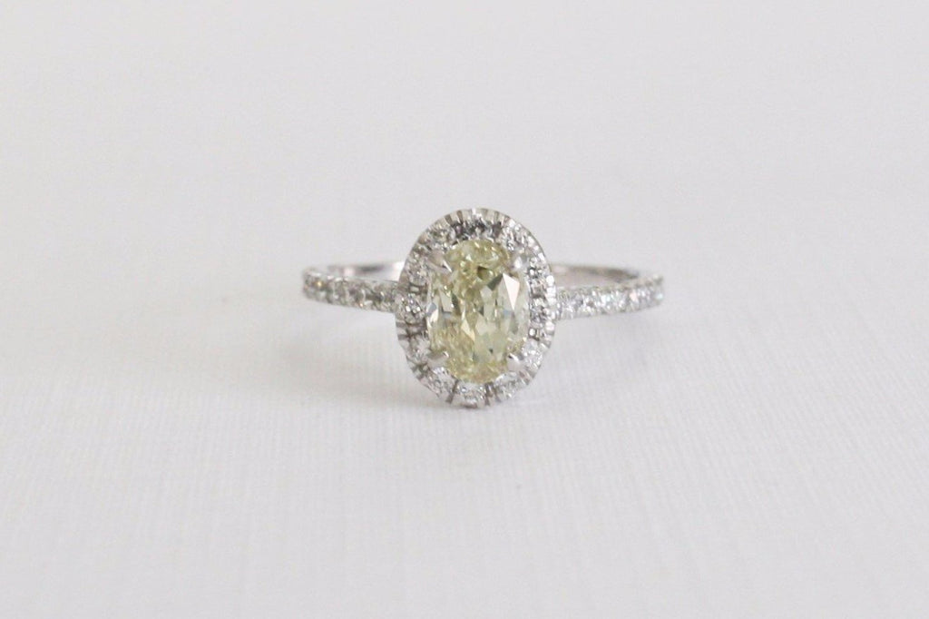 Oval Champagne Diamond Halo Engagement Ring in 14K White Gold