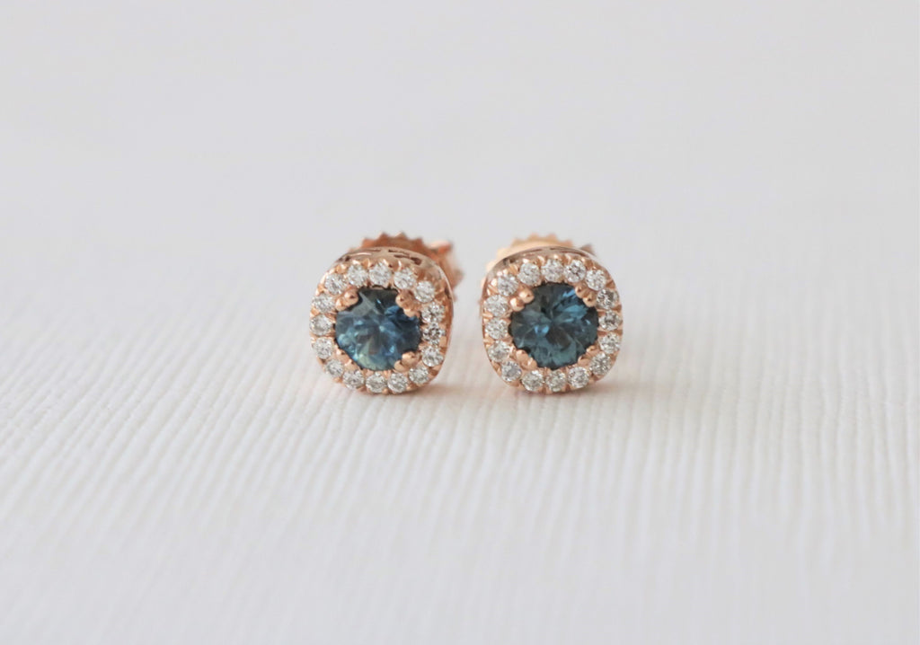 Blue Green Sapphire Diamond Halo Earrings in 14K Yellow Gold