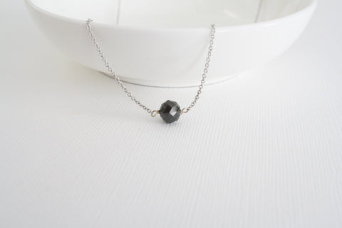 Black Rondelle Diamond Suspended Necklace in 14K Gold