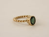 Oval Green Tourmaline Twist Ring in14K Yellow Gold