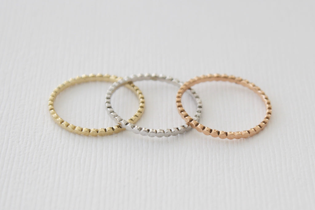 Stackable Solid Gold Dot Ring in 14K