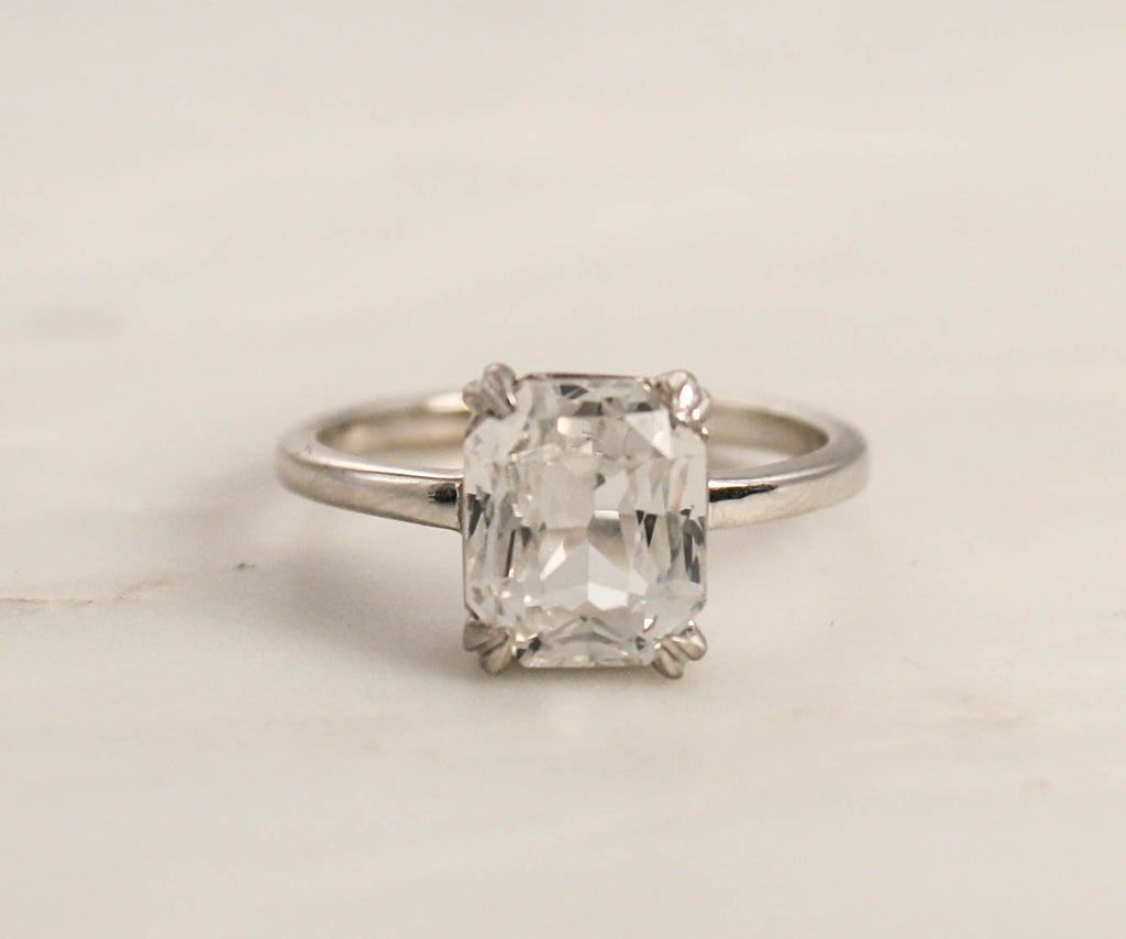 Radiant Cut White Sapphire Solitaire Engagement Ring in 14K White Gold