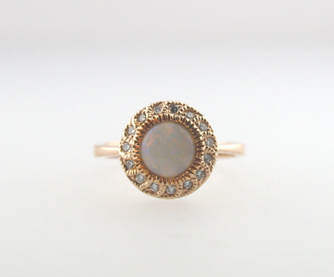 Opal Milgrain Diamond Halo Ring in 14K Rose Gold