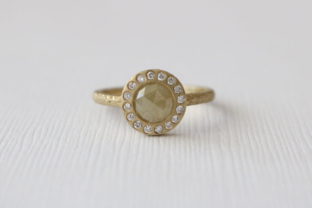 Yellow Rose Cut Diamond Bezel Diamond Ring in 14K Yellow Textured Gold