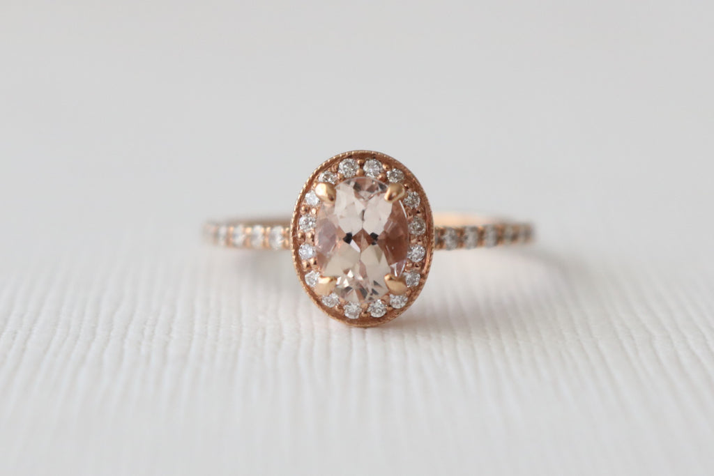 Oval Morganite Diamond Milgrain Halo Engagement Ring in 14K Rose Gold